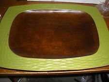 "vintage wooden tray bowl platter with green sides 12"" X 16"""