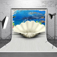 3D Effect Shell Ocean Photography Backdrop Background Studio Photo Props 5x7ft