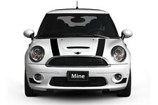Mini Cooper 2007-2013 Black with White Hood Stripes - Exact Fit No trimming