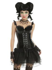 HOT TOPIC Black Lace & Faux Leather Bustier Corset Women's Junior Size Medium