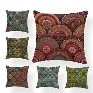 Custom Modern Pillowcase Mandala Round Green Flower Cushion Cover Living Room