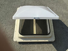 """NEW RV CAMPER MOTORHOME BUS FIFTH WHEEL ROOF VENT HENGS WHITE 14"""" X 14"""" MANUAL"""