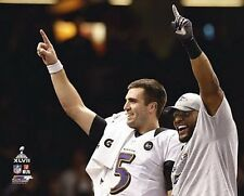 2013 Super Bowl XLVII Champs JOE FLACCO & RAY LEWIS Baltimore Ravens 8x10 photo