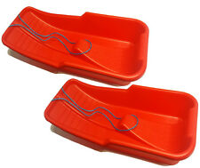 2 OF SNOW SLEDGES TOBOGGAN WITH ROPE HANDLE 88 X 41 X 18CM MADE IN UK