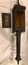 Vintage Goth Spanish Lightcraft Porch Light Cast Metal Amber Glass Electric
