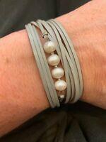 "Multi Strand Women's Freshwater Pearl Bracelet Magnet Clasp 7"" Long Cuff NEW"