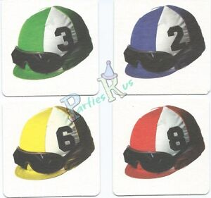 Melb Cup Horse Spring Racing Party Supplies Jockey Helmet Drink Coasters 8pk