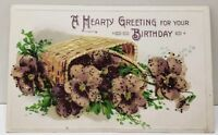 Birthday Greetings Beaded Sparkling Flowers To Franklin County Pa Postcard D15
