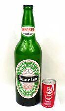 Rare Large Glass 18½ inch tall Heineken Beer Bottle Tavern Trove