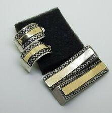Israel Solid Sterling Silver 925 Gold 9K Earrings Brooch Set Vintage Yemenite
