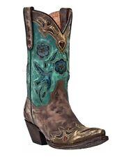 Dan Post DP3544 Women's Blue Vintage Bluebird Boots Cowboy Brown Leather Teal