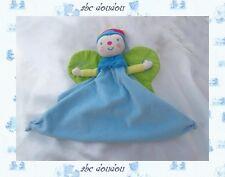 Doudou Peluche Fée Poupée Princesse Papillon Bleu Katherine Roumanoff