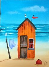 Original Acrylic ACEO Painting by JULIA Seaside Beach Hut, Seagulls
