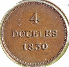 Guernsey (UK, Great Britain)  4 Doubles 1830 Extra Fine, Nice Coin!