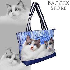 Furbabies Ragdoll Cat Original portrait drawing printed Canvas Medium Tote Bag