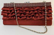 Evening Bag Clutch Purse Burgundy Clear Sparkling Rhinestones Silver Tone Chain