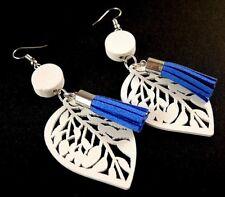 White Lightweight Wood Fashion Earrings with Faux Suede Dark Blue Tassels # 9
