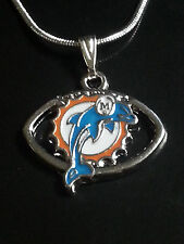 Miami Dolphins Necklace Pendant Sterling Silver Chain NFL Football