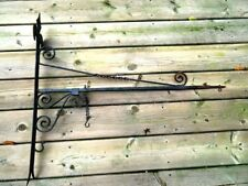 antique TRADE STORE SIGN HANGER hand wrought iron GOTHIC Fleur des Lis rusty 33""