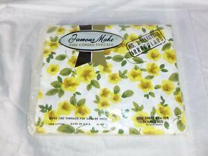 NOS Vtg Famous Make Full Flat Sheet White W/ Yellow Flowers 100% Cotton Percale