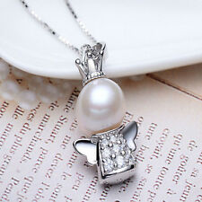 Fashion Women Silver Plated Angel Baby Pearl Charm Pendant Necklace Jewelry Gift