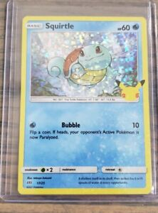 2021 Pokémon SQUIRTLE HOLO CARD McDonalds Happy Meal Toy Holographic 17/25 25th