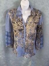 Fashion Bug Patchwork Plaid & Floral Blouse Size Large 3/4 Sleeve