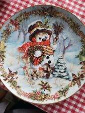 Franklin Mint Christmas Plate by David Paris Frost the Snowman Holiday Portrait
