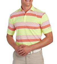 Columbia Golf - Men's L - NWT $70 - Neon Yellow/Coral Striped Logo Polo Shirt