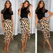 Womens Leopard Print Wrap Dress Bandage Tunic Midi Skirt Ladies Sexy Party Wear