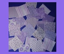 LILAC  fabric patchwork squares 4 x 4 ins  (10cms). Packs of 25, mixed patterns