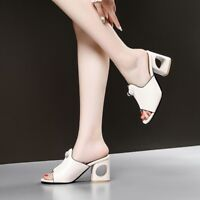 Women Block High Heels Slip On Slippers Beach Sandals Summer Mules Fashion Sz