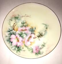 Thomas Sevres Bavaria Antique Pink Rose Dinner Plate Lot Of 2 Hand Painted