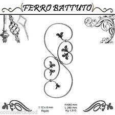 PANNELLI PALETTI FOGLIATI FERRO BATTUTO X SCALA RINGHIERE CANCELLO H 68cm L 28cm
