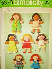 Simplicity 5378 Rag Doll Sewing Pattern one Size Cut & Counted