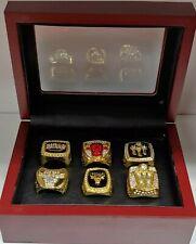 Michael Jordan - Chicago Bulls 6 Championship Ring Set With Wooden Display Box