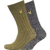 Lyle & Scott Mens 2 Pack Mouline Chunky Knit Ribbed Socks Black Marl Green £20