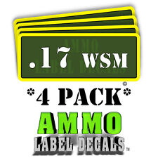 ".17 WSM Ammo Label Decals Ammunition Case 3"" x 1"" Can stickers 4 PACK -YWagRD"