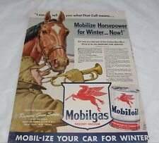 Original 1942 Print Ad Mobilgas Mobiloil Red Horse Wartime Car Service Pays Wide Selection; Collectibles