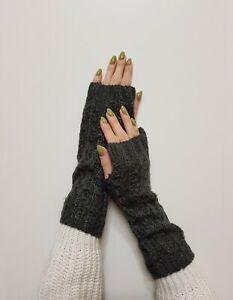 New Claire's Womens Girls Winter Gray Shinny Arm Warmer Fingerless Gloves