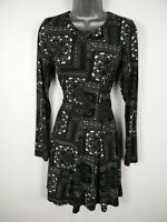 WOMENS QED LONDON BLACK PATTERNED LONG SLEEVE FIT & FLARE SUMMER DRESS UK 10