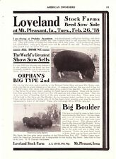 1918 American Swineherd Hog Sales  Loveland Farm Mt Pleasant IA   Reeds MO
