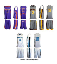10 ADULT BASKETBALL UNIFORM SETS of Jerseys & Shorts CUSTOM MADE TO ORDER Style