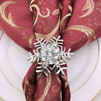 4pcs Snowflake Napkin Rings Christmas Party Banquet Serviette Holder Table Decor