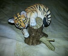 "Vtg '89 TIGER CUB ON WOOD FIGURINE MADE IN JAPAN 4 3/4"" TALL ANDREA BY SADEK"