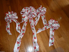 4 Winter Christmas Wreath Bows Present Gifts White Red Wired Glitter Trim