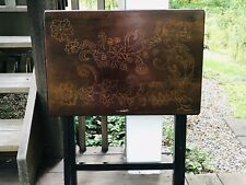 Vintage Wood TV/Tray Retro Distressed Style Artist Etched Floral Dark Brown