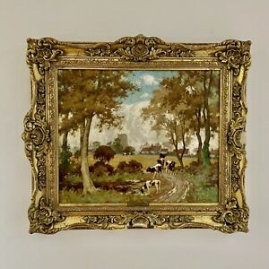 RICHARD GEORGE HINCHCLIFFE (1868-1942), Large Gilt Framed Landscape with Cattle