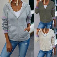 Women's Hoodies Zip Up Sweatshirt Ladies Hooded Long Sleeve Tops Jumper Pullover