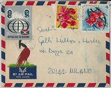 FLOWERS maps FLAGS -- BURUNDI -  POSTAL HISTORY -    COVER to ITALY 1973
